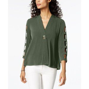JM Collection Petite Cage-Sleeve Top